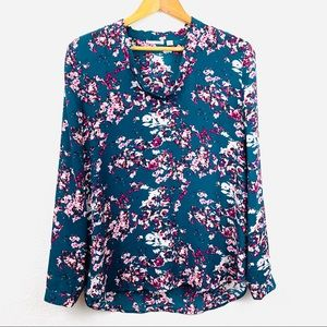 Halogen High Low Floral Long Sleeve Blouse L